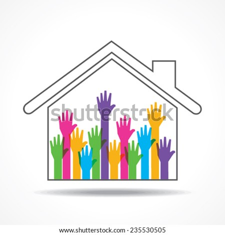 Group of up hands in the home stock vector - stock vector