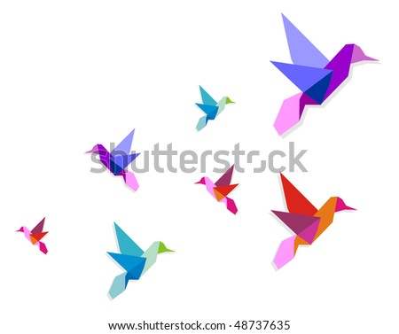 Group of various Origami vibrant colors hummingbirds. Vector file available. - stock vector