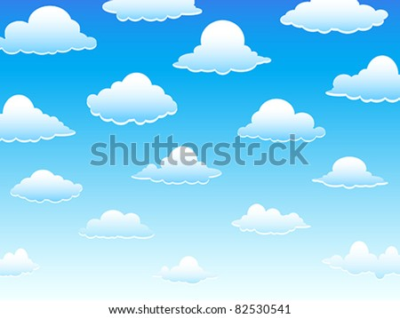 Group of vector clouds on a blue sky