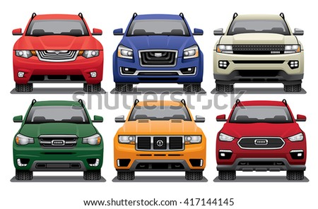 Group of vector drawings of the fronts of modern SUVs. - stock vector