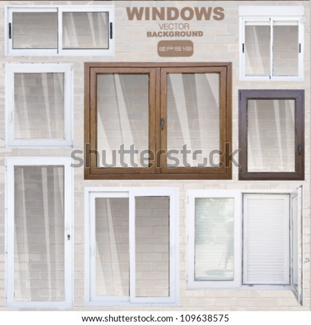 group of vector windows. abstract background - stock vector