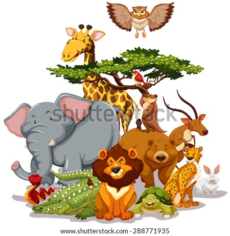 Group of wild animals gathering near a tree