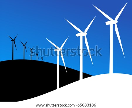 Group of Windmills silhouettes on blue and black background. Vector available.