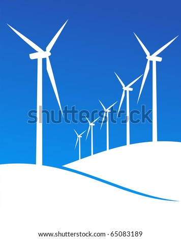 Group of Windmills white silhouettes on blue background. - stock vector