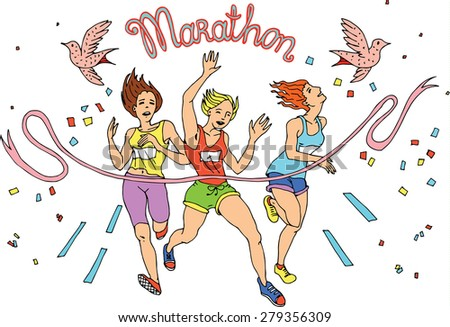 Group of womem Marathon Runners,colors vector - stock vector