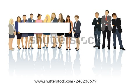 Group of women standing and holding a blank billboard, group of men looking at them. - stock vector