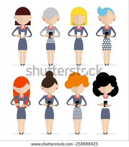 Group of women standing with cell phones in different poses. - stock vector