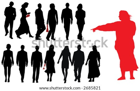 Group of young adults. Vector silhouette - stock vector