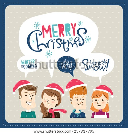 Group of young friends celebrating Christmas - stock vector