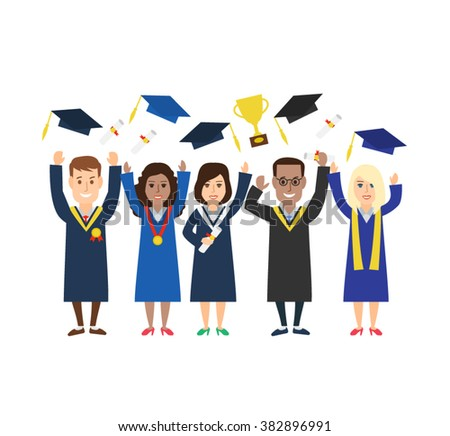 group young graduation students throwing graduation stock vector  group of young graduation students throwing graduation caps hats diploma trophy cup graduation university students