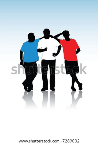 Group of young guys, silhouettes - stock vector