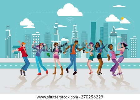 Group of young people dancing and jumping in a street of a modern Wireless City. Vector Illustration. - stock vector