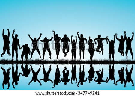 Group of young people jumping - stock vector
