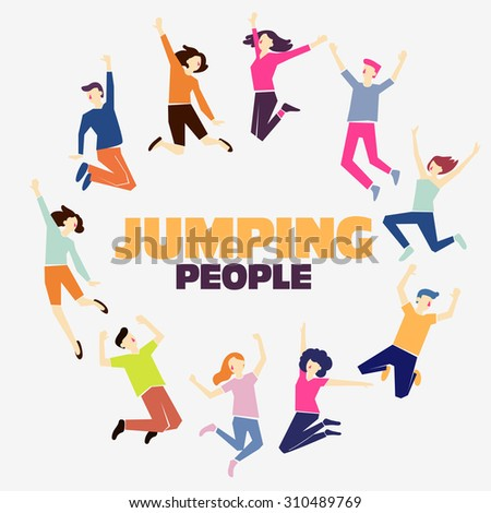 Group of young people jumping on white background with copy space.  Stylish modern vector illustration with happy male and female teenagers  Party, sport, dance and friendship team concept. - stock vector