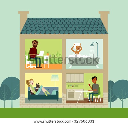 Group of young people living together - stock vector