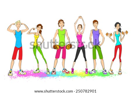 Group of young sport people, colorful clothes man and woman fitness trainer, bodybuilder athletic muscle isolated on white background vector illustration - stock vector