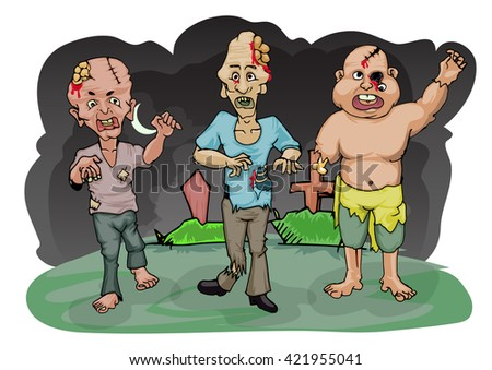 group of zombie on gave yard background cartoon illustration - stock vector