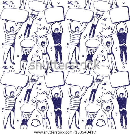 Group people and bubbles ink draw seamless pattern Seamless doodles pattern with unrecognizable people with empty bubbles. Hand draw blue ink and white vector illustration.  - stock vector