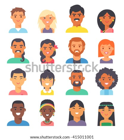 Group people nationality race at work teamwork avatars. Flat design characters people nationality race. Set diverse avatars people nationality race. Different nationalities, clothes and hair styles. - stock vector