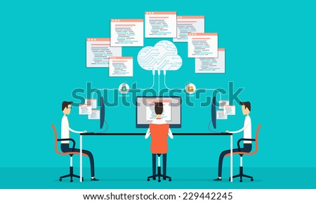 Group people programing develop web and application on cloud net work. vector illustration - stock vector
