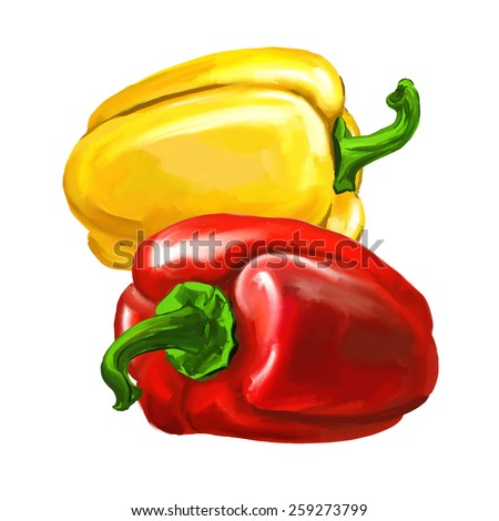 group peppers vector illustration  hand drawn  painted watercolor  - stock vector