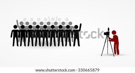 Group photo of stick men - stock vector