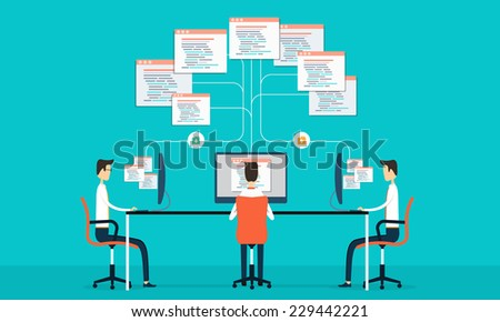 Group programing connection develop web site and application on internet net work - stock vector