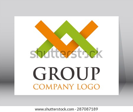 Group simple line logo art element design vector icon symbol shape template abstract business - stock vector