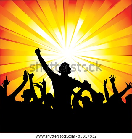 Group sport fans. - stock vector