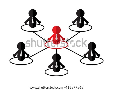 group teamwork businessman interaction connect leader icon symbol on white background