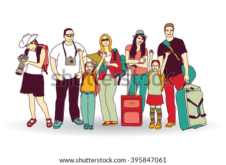 Group tourists people color isolate on white. Color vector illustration. EPS8