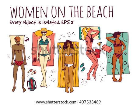 Group women in vacation isolate white set. Color vector illustration. EPS8