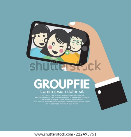 Groupfie A Group Selfie By Phone Vector Illustration - stock vector