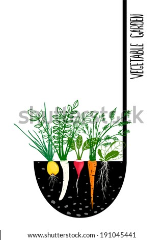 Grow Vegetable Garden and Cook Soup. Food illustration in black ink and colors. Vector EPS8. - stock vector