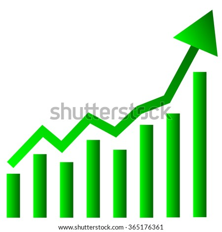 Growing bar chart with arrow on white background. Vector illustration.