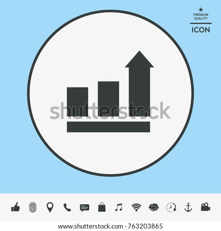 Growing bars graphic with rising arrow. Icon
