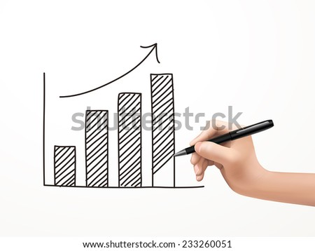 growing business graph drawn by human hand over white background - stock vector