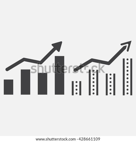 growing chart line icon, outline and solid vector logo, linear pictogram isolated on white