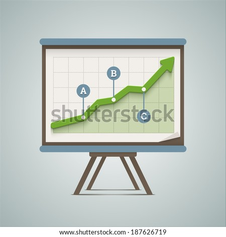 Growing chart presentation. Vector illustration in EPS10. - stock vector