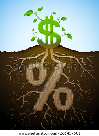 Growing dollar sign as plant with leaves and percent sign as root. Financial concept with money symbol and percentage. Vector illustration for banking, financial industry, economy, accounting, etc - stock vector