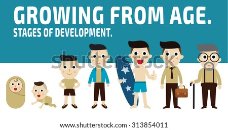 growing from age. generation of men from infants to seniors. set of cartoon character isolated on white and blue background. stages of development concept. vector graphic design. illustration. - stock vector