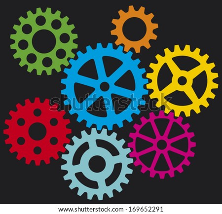 growing gears (cogs in process) - stock vector