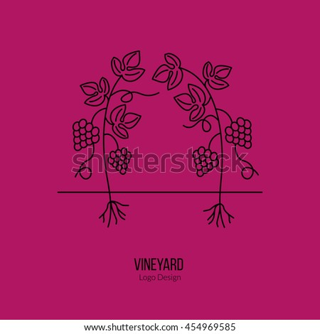 Growing grapes. Single logo in modern thin line style isolated on red background. Outline winery symbol. Simple mono linear pictogram. Stroke vector logotype template. - stock vector