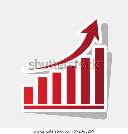Growing graph sign. Vector. New year reddish icon with outside stroke and gray shadow on light gray background.