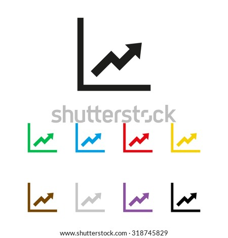 growing graph - vector icon