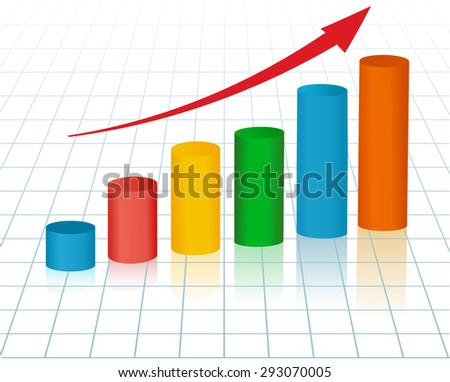 growing graph with arrow - stock vector