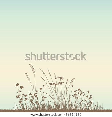 Growing grass silhouettes, vector. No autotracing. - stock vector