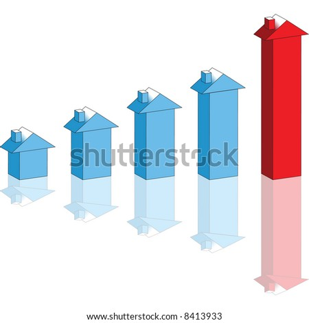 Growing house prices graph - stock vector