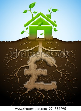Growing house sign as plant and pound as root. Home and money symbol in shape of plant parts. Vector image for mortgage, green building, real estate, investment, construction, sustainability, etc - stock vector