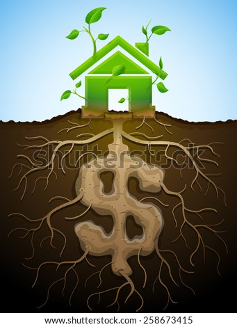 Growing house sign like plant with leaves and dollar like root. Home and money symbol in shape of plant parts. Vector image for mortgage, green building, real estate, construction, sustainability  - stock vector